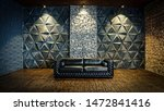 black leather sofa in the... | Shutterstock . vector #1472841416