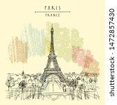 paris  france  europe. eiffel... | Shutterstock .eps vector #1472857430