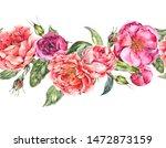 vintage watercolor seamless... | Shutterstock . vector #1472873159