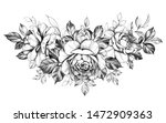 hand drawn rose flowers bunch... | Shutterstock . vector #1472909363