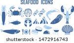 sea food vector icons lobster... | Shutterstock .eps vector #1472916743