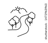 road and trees line icon....