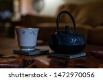 Small photo of Teapot and teacup stock photo