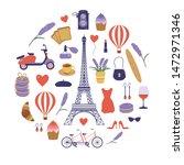Paris Icon Set With Eiffel...