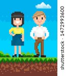 man and woman pixel art game... | Shutterstock .eps vector #1472993600