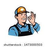 smiling worker gesture ok.... | Shutterstock .eps vector #1473000503