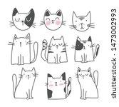 cute cat doodle style... | Shutterstock .eps vector #1473002993