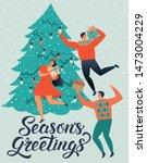 season's greetings. people... | Shutterstock .eps vector #1473004229