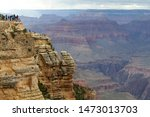 Scenic viewpoint with people in Grand Canyon, Arizona, United States