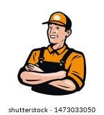 worker or serviceman in... | Shutterstock .eps vector #1473033050