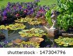 Colorful Spring Garden Pond...