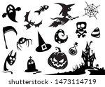 halloween cartoon elements... | Shutterstock .eps vector #1473114719