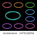 colorful neon oval frames set.... | Shutterstock . vector #1473118256