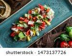 greek salad of organic... | Shutterstock . vector #1473137726