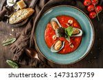 tomato gazpacho soup with... | Shutterstock . vector #1473137759