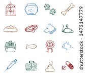 vector set of color sketch pets ... | Shutterstock .eps vector #1473147779