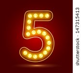 number 5 with realistic lamp ... | Shutterstock .eps vector #147315413