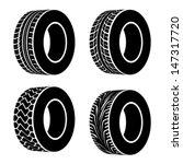 vector black tyre symbols | Shutterstock .eps vector #147317720