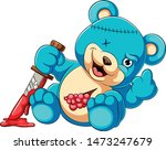 scary teddy bear holding knife | Shutterstock .eps vector #1473247679