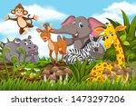 happy animals in jungle scene... | Shutterstock .eps vector #1473297206