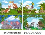set of various animals in... | Shutterstock .eps vector #1473297209