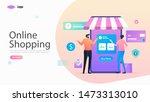 online shopping vector...