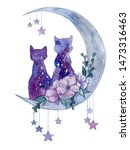 Watercolor Space Cats On The...