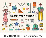 a set of student characters and ... | Shutterstock .eps vector #1473372740