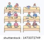 children sitting at the... | Shutterstock .eps vector #1473372749