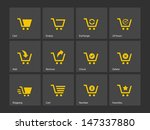 shopping cart icons on gray...