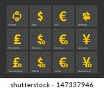 exchange rate icons on gray...