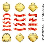 emblems set shaped and bordered ... | Shutterstock . vector #1473380189