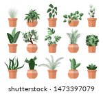 set of different green plant... | Shutterstock .eps vector #1473397079