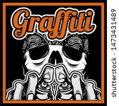 skull hand holding spay paint... | Shutterstock .eps vector #1473431489