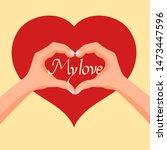 women hands making heart sign... | Shutterstock .eps vector #1473447596