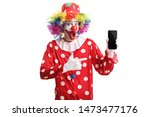 Cheerful Clown Holding A Mobile ...