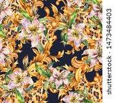 watercolor golden baroque... | Shutterstock . vector #1473484403