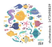 set of fish in a circle | Shutterstock .eps vector #1473498839