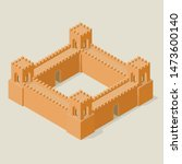 isometric fortress with towers... | Shutterstock .eps vector #1473600140