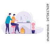 teacher help young student... | Shutterstock .eps vector #1473617639