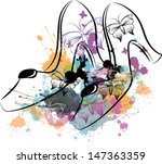 abstract floral shoes | Shutterstock .eps vector #147363359
