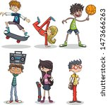 group of cartoon young people... | Shutterstock .eps vector #1473666263