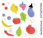 set food flat hand drawn ....   Shutterstock .eps vector #1473692540