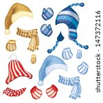 vector set of hats  scarfs and... | Shutterstock .eps vector #147372116