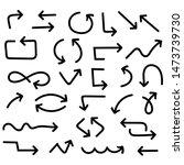 bold black arrows. doodle style.... | Shutterstock .eps vector #1473739730