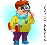 young boy holding a magnifying... | Shutterstock .eps vector #1473756923