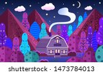 mountain lodge in the forest....   Shutterstock .eps vector #1473784013