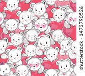 little white bears and hearts ... | Shutterstock .eps vector #1473790526