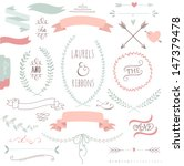 Wedding graphic set, arrows, hearts, laurel, wreaths, ribbons and labels.  | Shutterstock vector #147379478