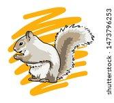 Stock vector hand drawn squirrel logo vector illustration 1473796253